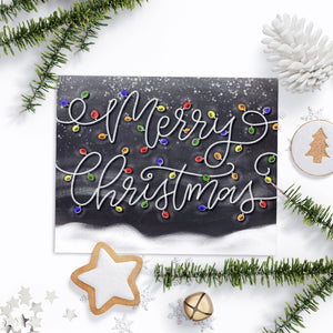 Chalkboard Merry Christmas Snowy Lights Art Print