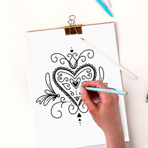 Hearts Coloring Pages - PrintableHaven  - 3