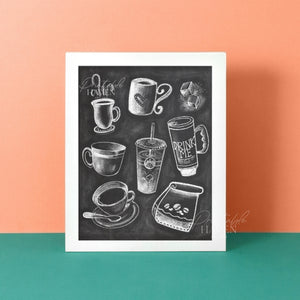Chalkboard Coffee & Tea Art Print
