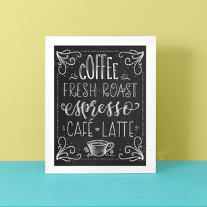 Chalkboard Coffee Fresh Roast Art Print