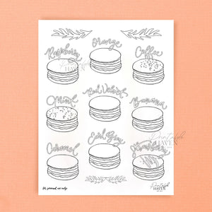 Assorted Macarons II Coloring Page Printable