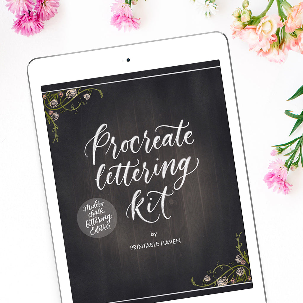 graphic relating to Printable Chalkboard Letters referred to as Chalkboard Procreate Lettering Package