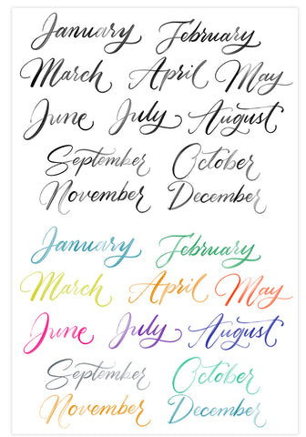 Watercolor Calligraphy Months