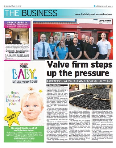 Hull Daily Mail Newspaper Article - Valve firm steps up the pressure