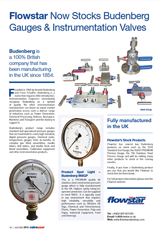 ValveUser - Issue 39 - Flowstar Now Stocks Budenberg Gauges & Intrumentation Valves
