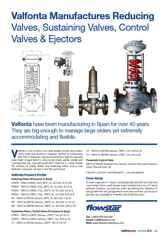 ValveUser - Issue 39 - Valfonta Manufactures Reducing Valves, Sustaining Valves, Control Valves & Ejectors