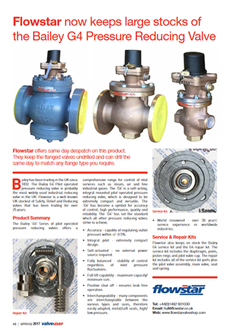 ValveUser - Issue 40 - Flowstar now keeps large stocks of the Bailey G4 Pressure Reducing Valve