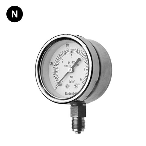 Budenberg 726 63mm Stainless Steel Pressure Gauge - Flowstar (UK) Limited - 1