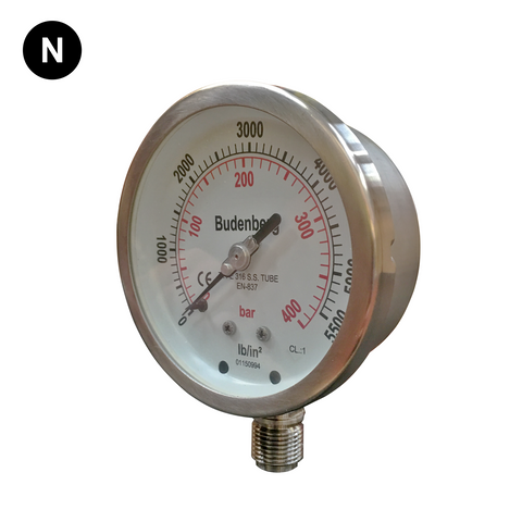 Budenberg 736 Stainless Steel Pressure Gauge - Flowstar (UK) Limited - 1