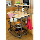 Enclume Butcher Block Baker's Cart with Wheels - Hammered Steel -  - 1