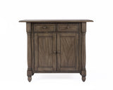 Shades Of Gray Drop Leaf Kitchen Island With 2 Drawers, 2 Doors And Pillar Details In Weathered Grey -  DLU-KI-4222-AG