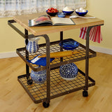 Enclume Rectangle Baker's Cart with Wheels - Hammered Steel -  - 1