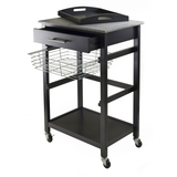Winsome Julia Portable Utility Kitchen Cart with Basket & Granite Top -  - 3