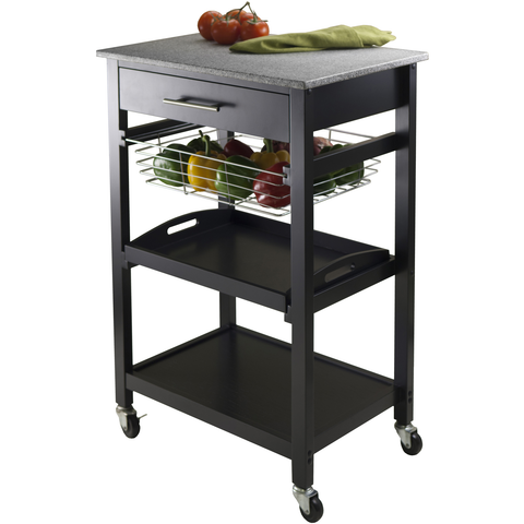Winsome Julia Portable Utility Kitchen Cart with Basket & Granite Top -  - 1