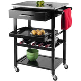 Winsome Anthony Portable Kitchen Cart with Stainless Steel Top - Black -  - 2