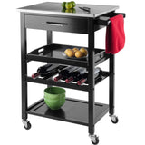Winsome Anthony Portable Kitchen Cart with Stainless Steel Top - Black -  - 3