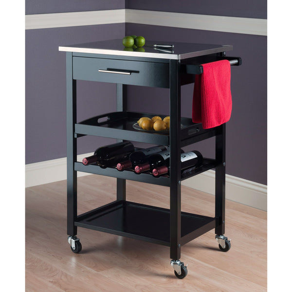 Winsome Anthony Portable Kitchen Cart with Stainless Steel Top - Black -  - 1