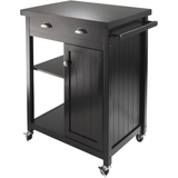 Winsome Timber Kitchen Cart with Wheels and Wainscot Panel - Black -  - 1
