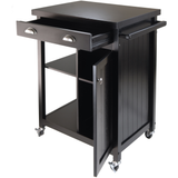 Winsome Timber Kitchen Cart with Wheels and Wainscot Panel - Black -  - 2