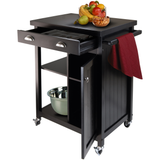 Winsome Timber Kitchen Cart with Wheels and Wainscot Panel - Black -  - 3