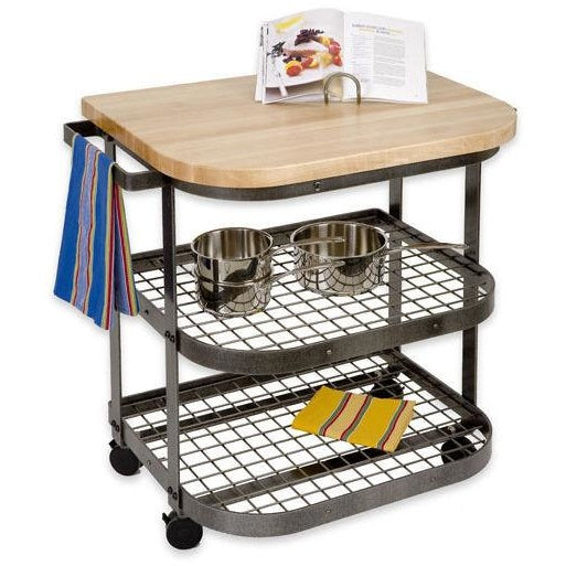 Enclume Butcher Block Bakers Cart Base with Wheels - Hammered Steel -