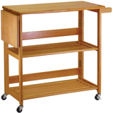 Winsome Foldable Kitchen Cart with Wheels - Light Oak -  - 1