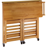 Winsome Foldable Kitchen Cart with Wheels - Light Oak -  - 2
