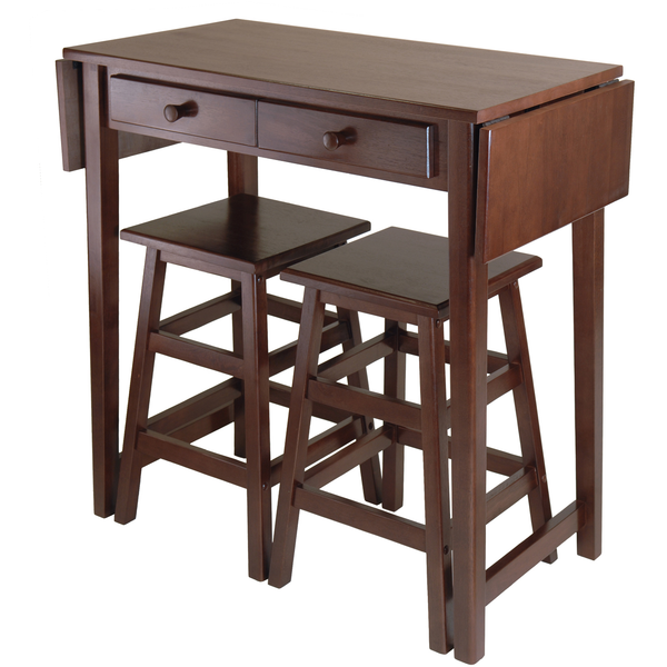 Winsome Mercer Double Drop Leaf Kitchen Island - with FREE 2 Stools -  - 1
