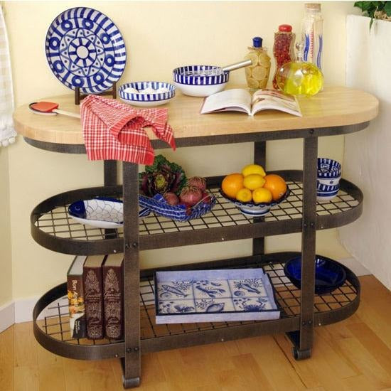Enclume Gourmet Island with Shelves - Hammered Steel -  - 1
