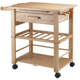 Winsome Finland Portable Kitchen Cart with Wine Rack -  - 5