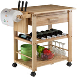 Winsome Finland Portable Kitchen Cart with Wine Rack -  - 4