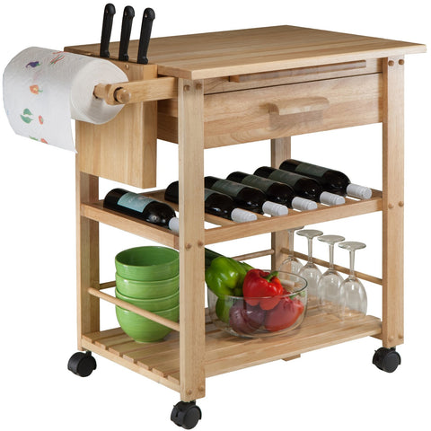 Winsome Finland Portable Kitchen Cart With Wine Rack
