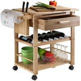 Winsome Finland Portable Kitchen Cart with Wine Rack -  - 3