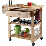 Winsome Finland Portable Kitchen Cart with Wine Rack -  - 2