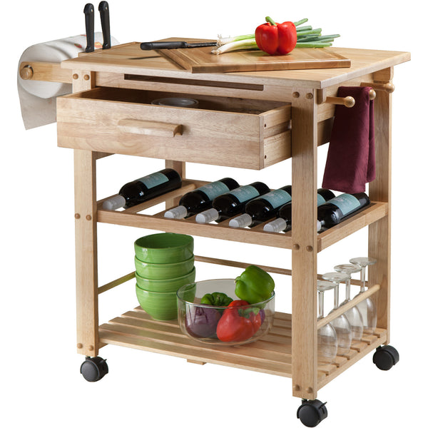 winsome finland portable kitchen cart with wine rack kitchen intrigue. Black Bedroom Furniture Sets. Home Design Ideas