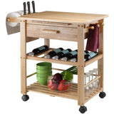 Winsome Finland Portable Kitchen Cart with Wine Rack -  - 1