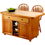 Sunset Trading 3 Piece Light Oak Kitchen Island Set with Beige Khaki Tile Top