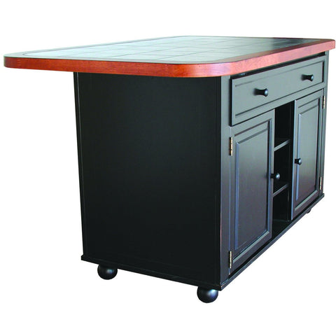 Sunset Trading Antique Black Kitchen Island with Cherry Trim and Inlaid Granite Top