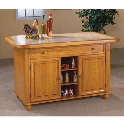 Sunset Trading Light Oak Finish Kitchen Island with Beige Khaki Tile Top