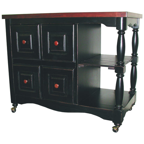 Sunset Trading Regal Kitchen Cart in Antique Black with Cherry Accents