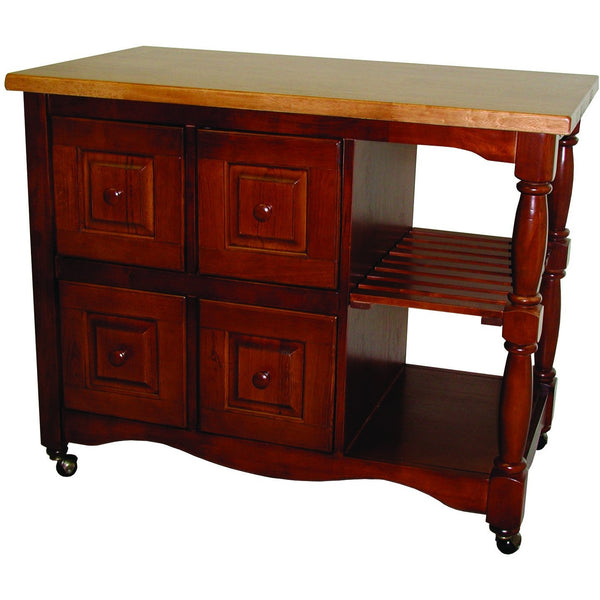 Sunset Trading Regal Kitchen Cart in Nutmeg with Light Oak Top