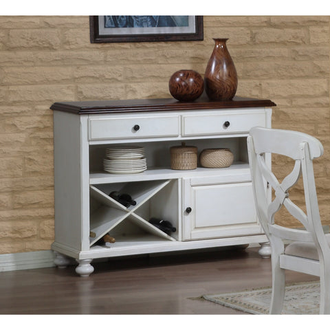 Sunset Trading Andrews Server in Antique White with Chestnut Top