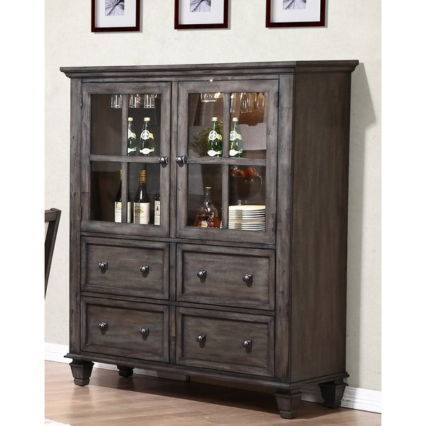 Sunset Trading Shades of Gray One Piece China Cabinet