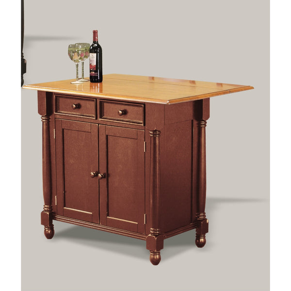 Sunset Trading Nutmeg Kitchen Island with Light Oak Drop Leaf Top