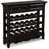 Sunset Trading HH-8520-040-BLK Antique Black Veracruz 18 Bottle Wine Rack With Drawer