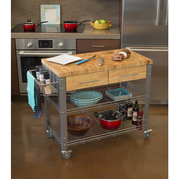 Chris Chris Stadium Kitchen Island Cart With Wood Top And