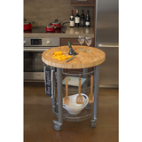 Chris & Chris Pro Stadium Kitchen Cart with Round Wood Top -  - 1