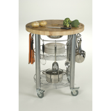 Chris & Chris Pro Stadium Kitchen Cart with Round Wood Top -  - 3