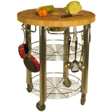 Chris & Chris Pro Stadium Kitchen Cart with Round Wood Top -  - 4