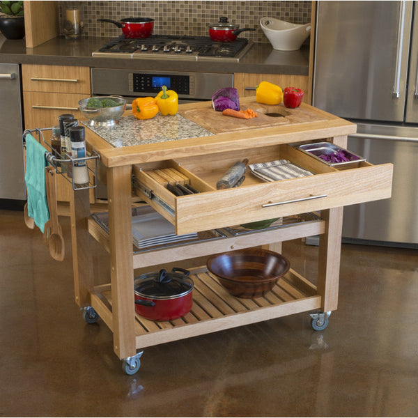 Open Kitchen With Bar Counter Seating And Chefs At Work: Chris & Chris Pro Chef Kitchen Island Food Prep Station W